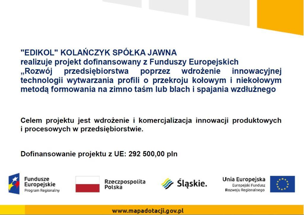Dofinansowanie projektu z UE: 292 500,00 PLN